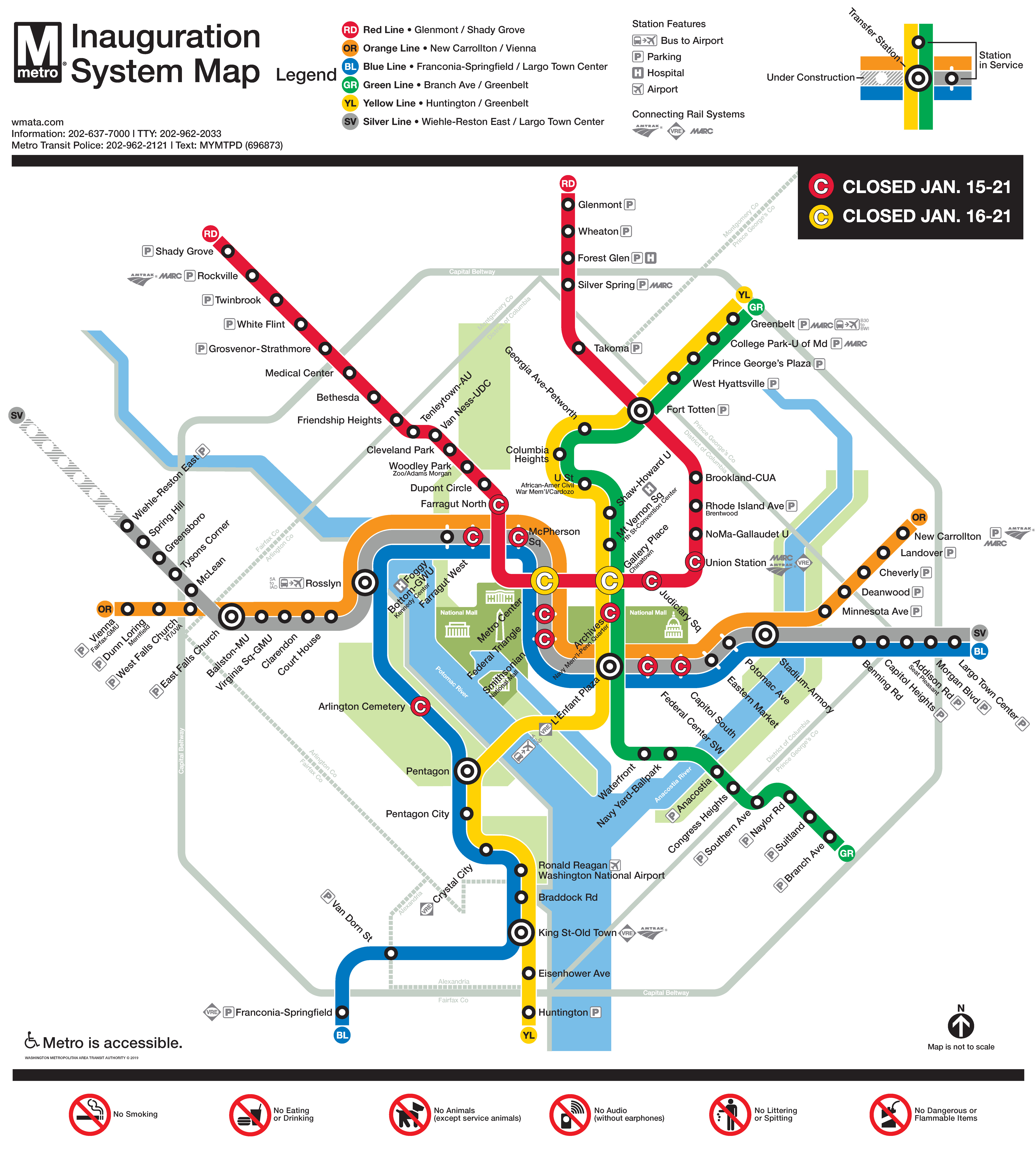 Inauguration 2021 Rail service Map