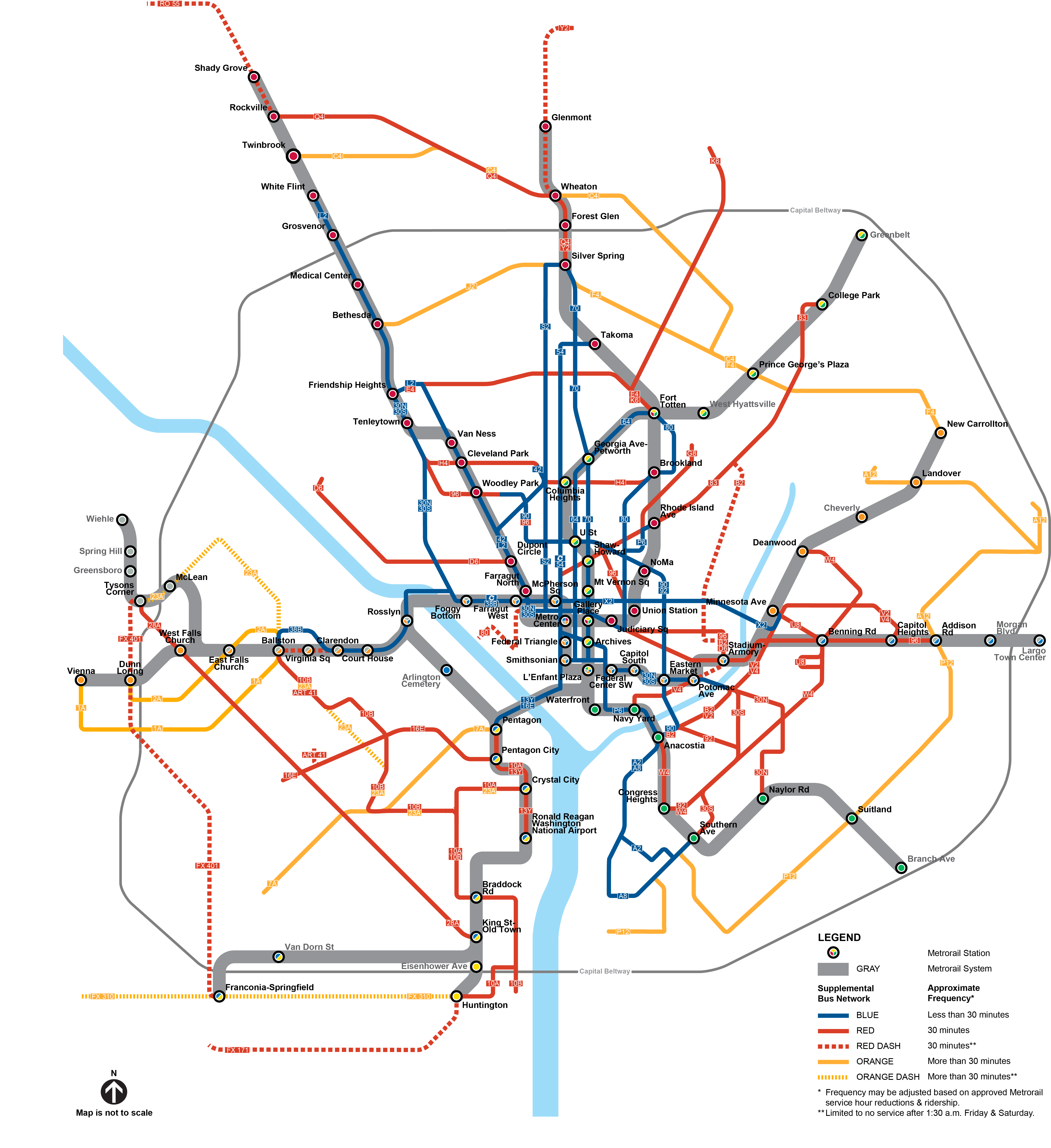 proposed service map for metrobus under proposed metrorail hours. proposed supplemental metrobus service  wmata