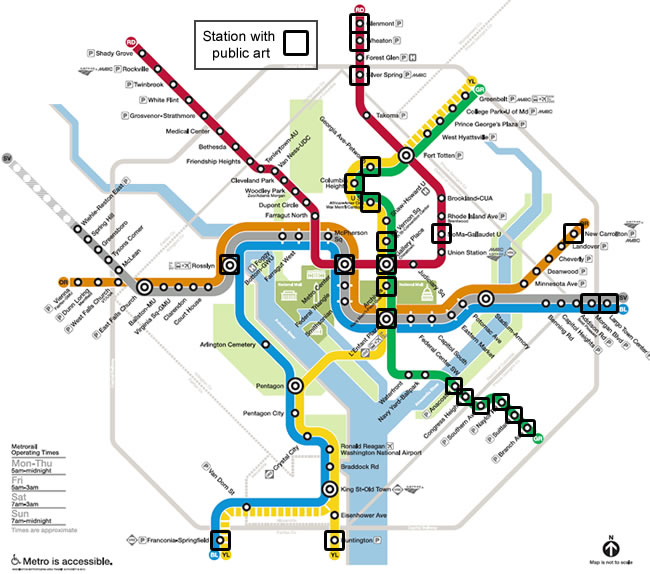 Stations with art map