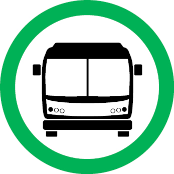Green circle bus service icon