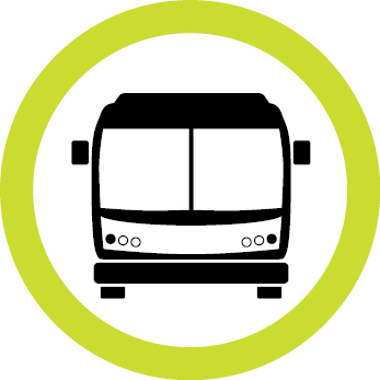 Yellow circle bus service icon