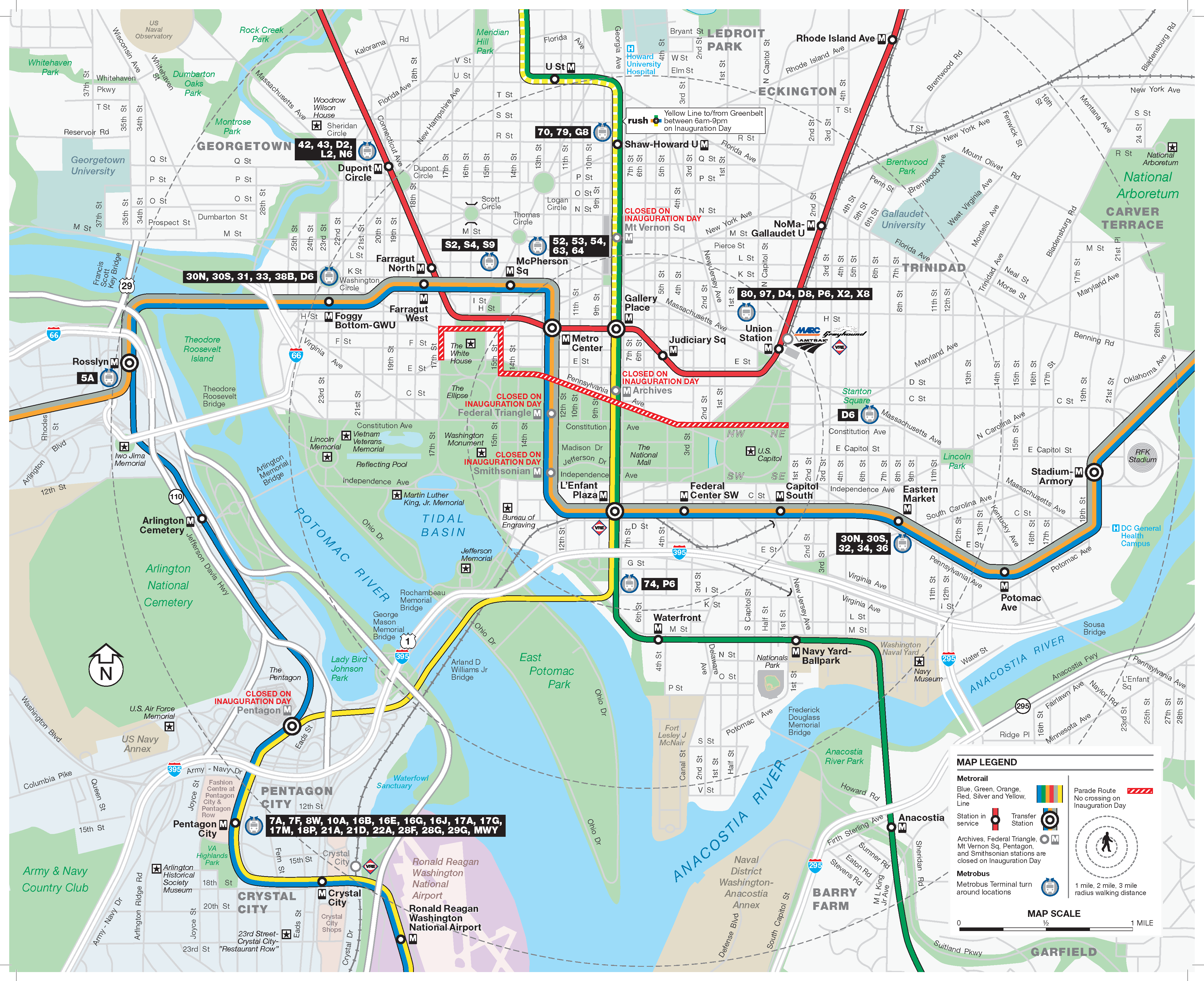 Inauguration Day Service Information WMATA - Washington dc silver line map