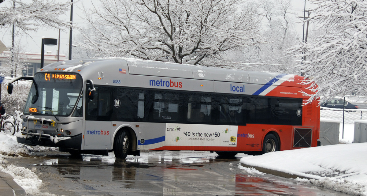 Bus in snow at Twinbrook