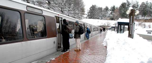 Train operating in snow
