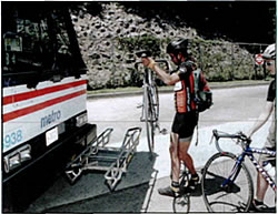Loading a bike onto a bus rack, step 2