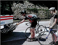 Loading a bike onto a bus rack, step 4