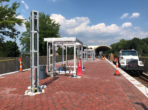 New shelters, benches and pylons start to take shape on the platform at Van Dorn Street Station