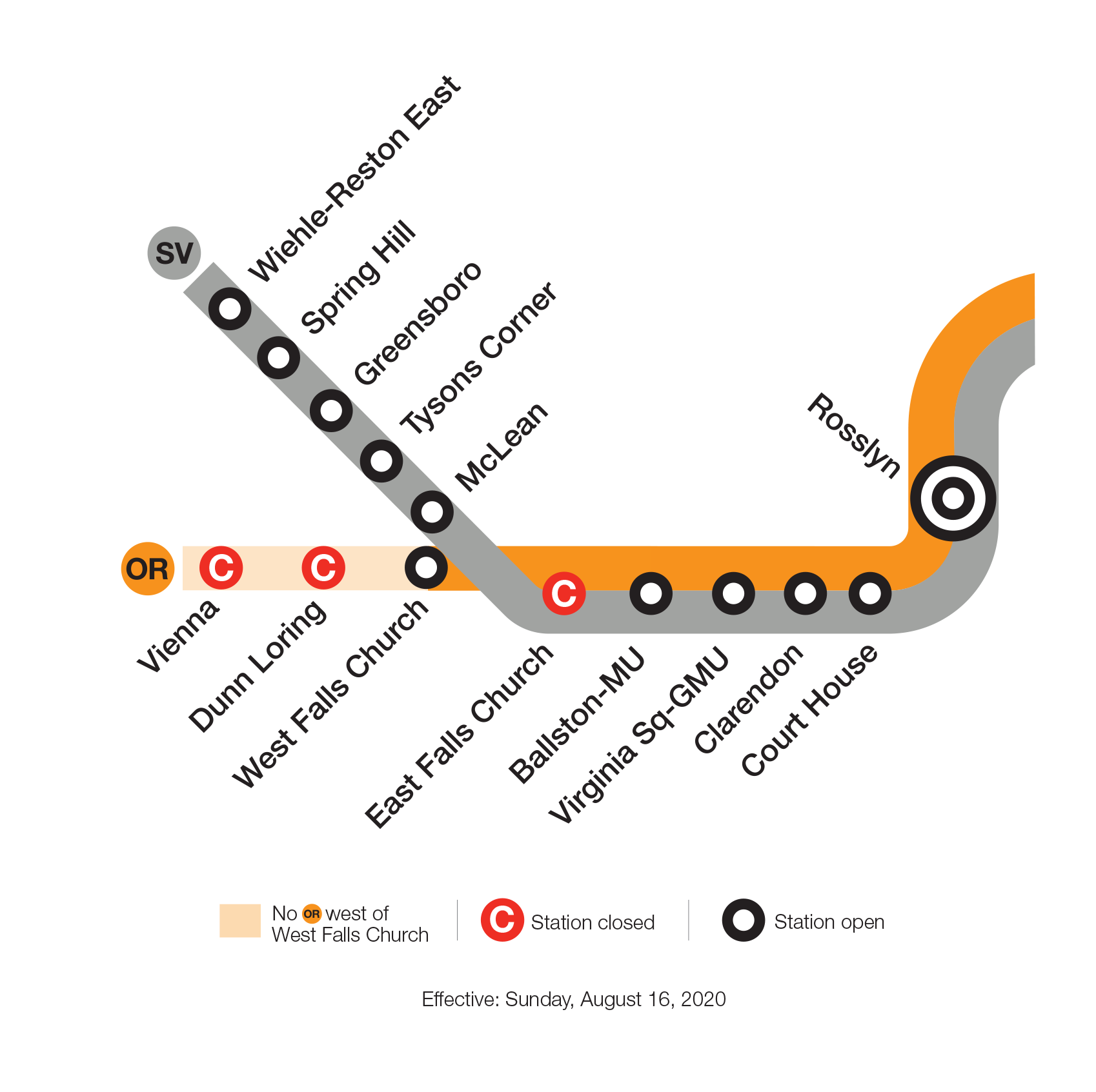Effective Sunday, August 16, Silver Line service will resume, and West Falls Church will be open for rail service. Vienna, Dunn Loring and East Falls Church are closed through Monday, Sept. 7.