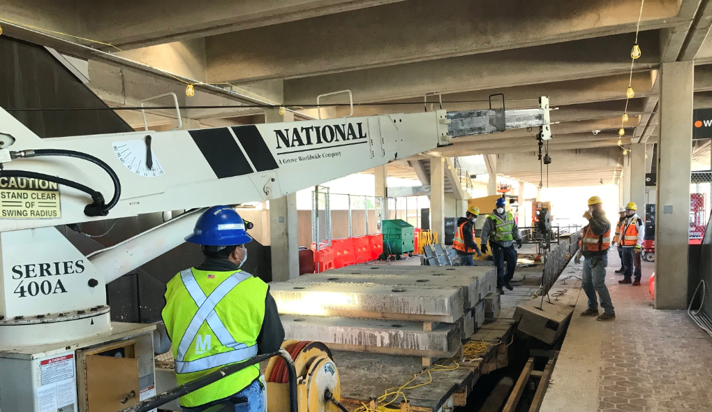 West Falls Church - removing granite edges from the platform