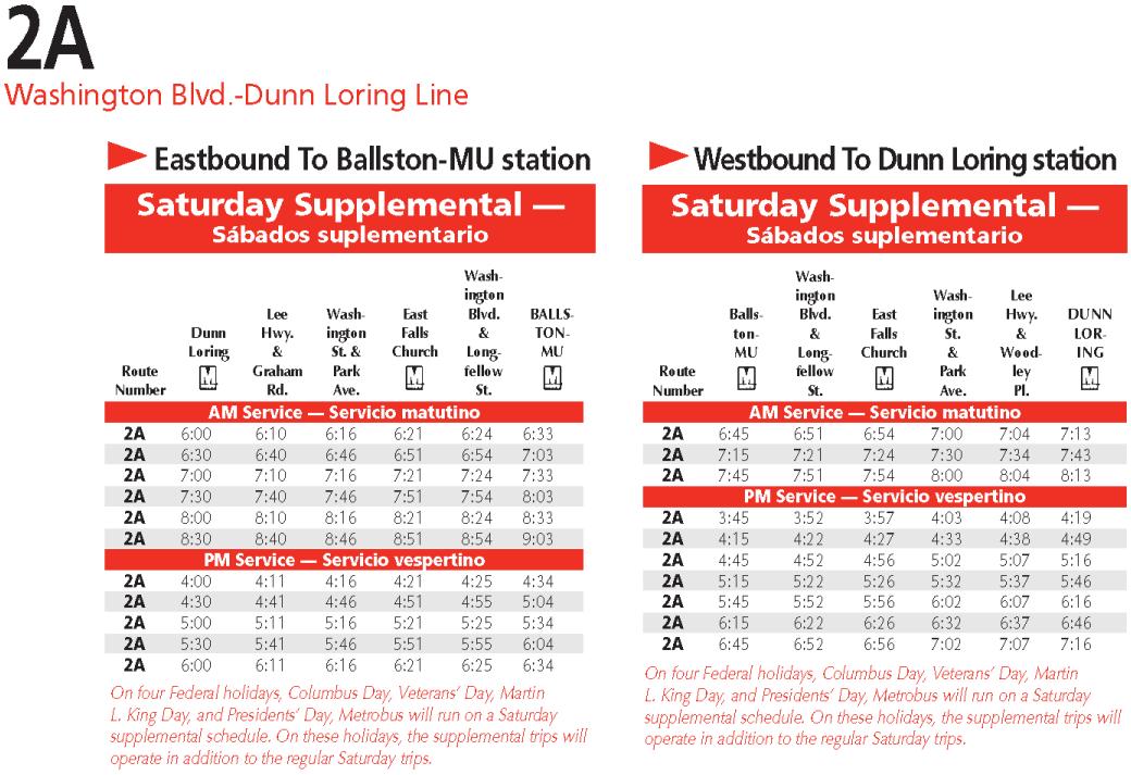 Metrobus Saturday Supplemental Information Wmata