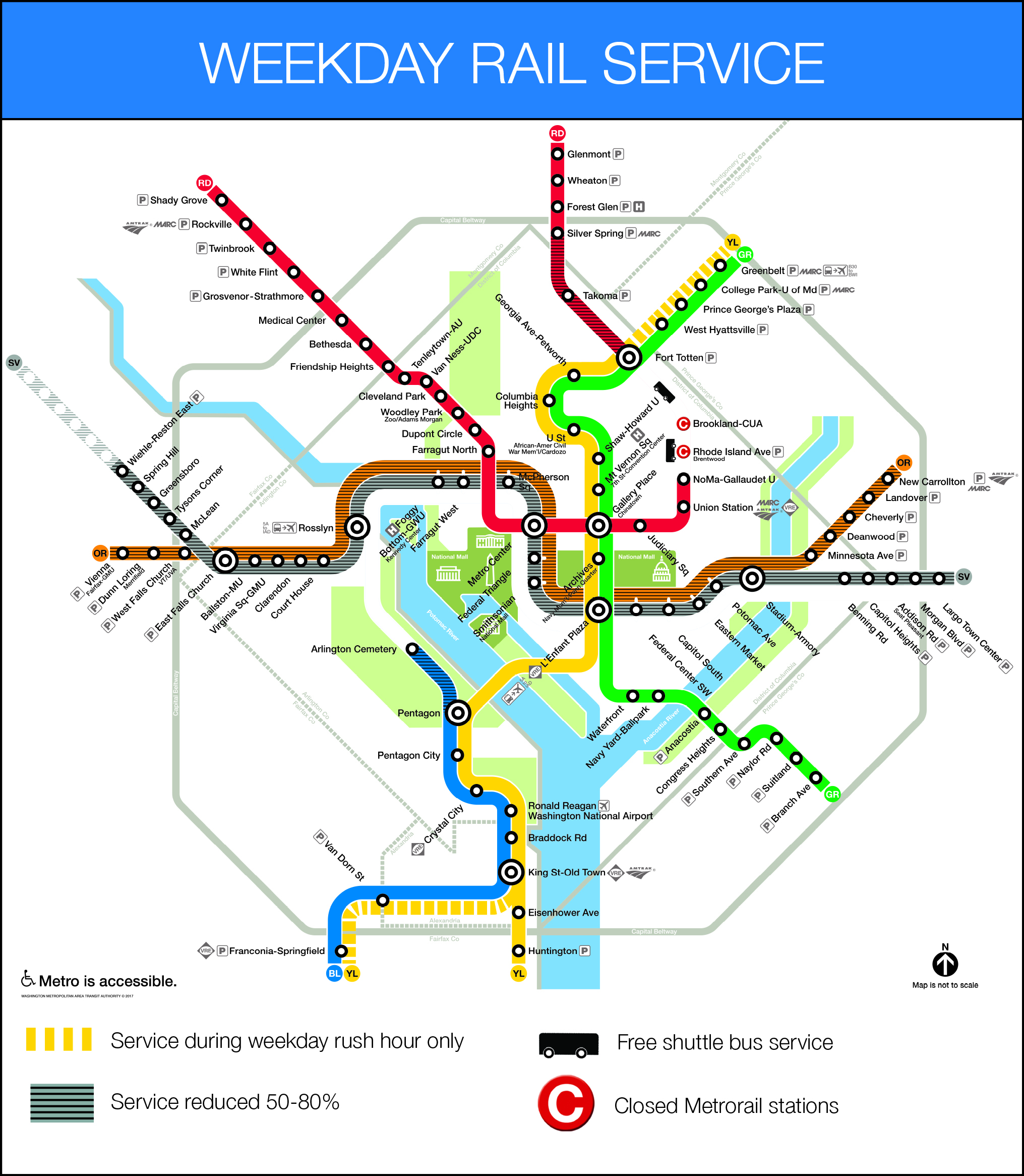 Metro Map Arlington Va.Major Orange Blue Silver Line Track Work Mcpherson Sq