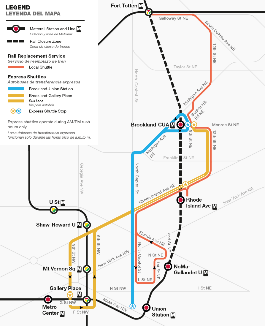 2018 Red Line Shutdown Shuttle Map