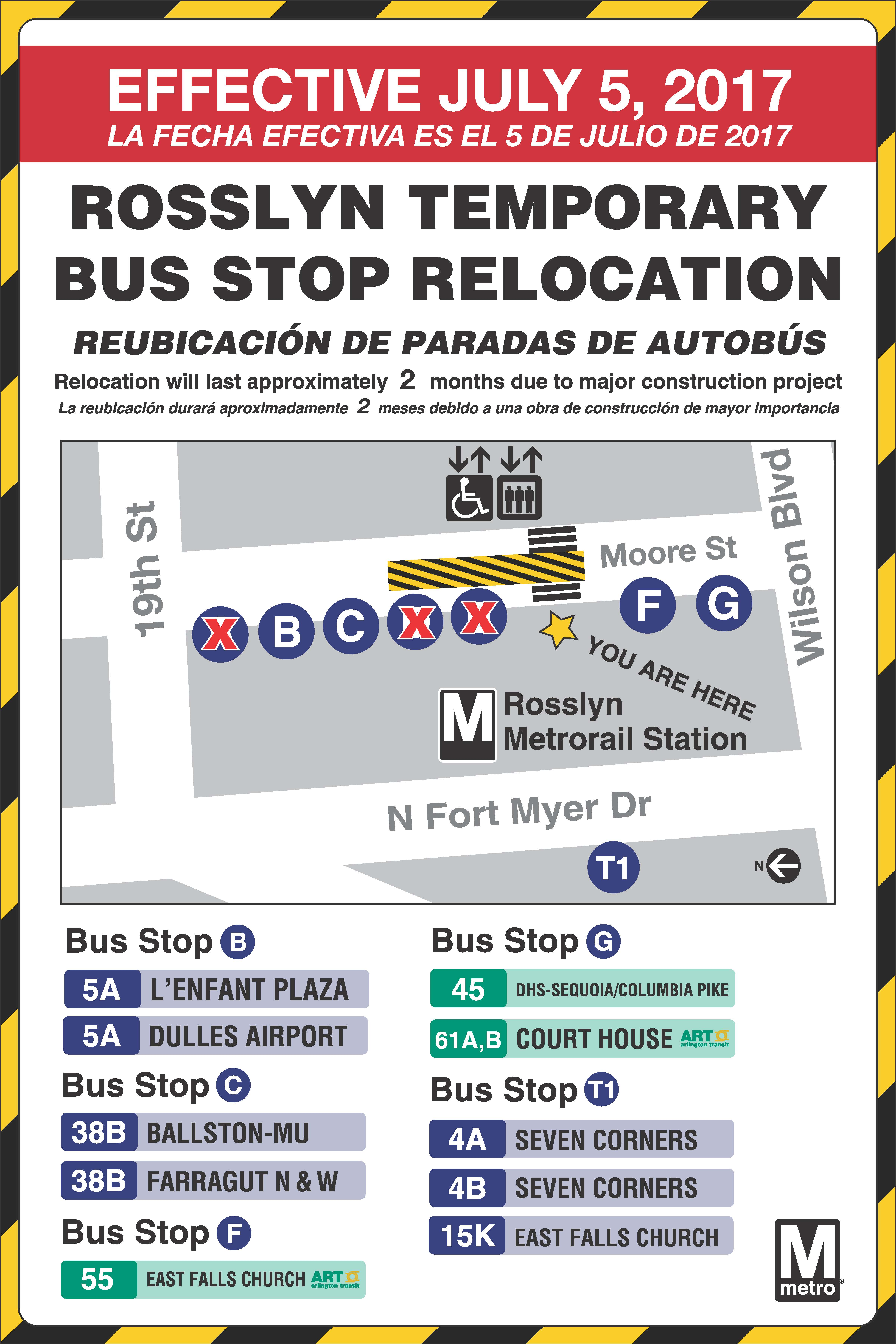 Rosslyn Bus Bays Relocating July 5