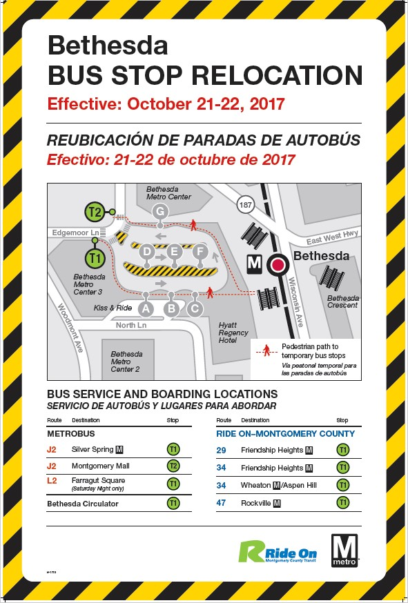 Bus Bays at Bethesda Relocationing October 21-22