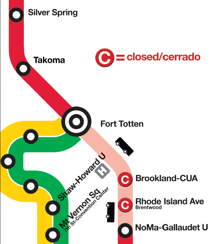 2018 Red Line Shutdown Map Ft. Totten - NoMa